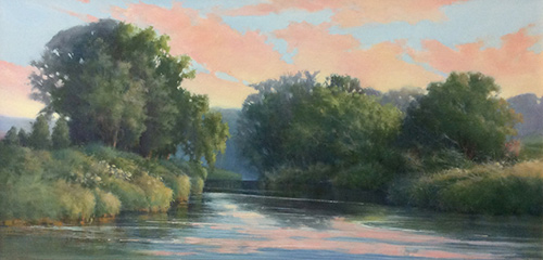 """July Evening on the Sugar River at Sunset Farm,"" by Jan Norsetter, 2014, oil on panel, 12 x 24 in."