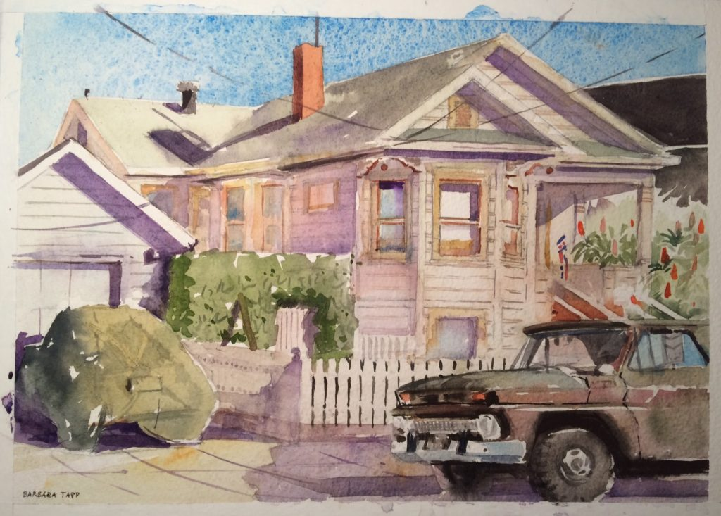 """Dave Loves His Chevys,"" by Barbara Tapp, 2017, watercolor, 8 x 15 in."