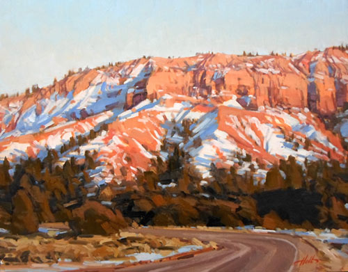 """""""Red Canyon Series V,"""" by J. Brad Holt, 2013, oil, 11 x 14 in. Studio painting"""