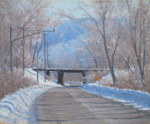 """""""February Frost,"""" by Joshua Cunningham, oil, 20 x 24 in. Private collection. Studio piece"""