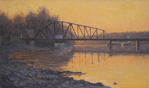 """""""End of the Day, Lilydale,"""" by Joshua Cunningham, oil, 9 x 15 in. Collection the artist"""