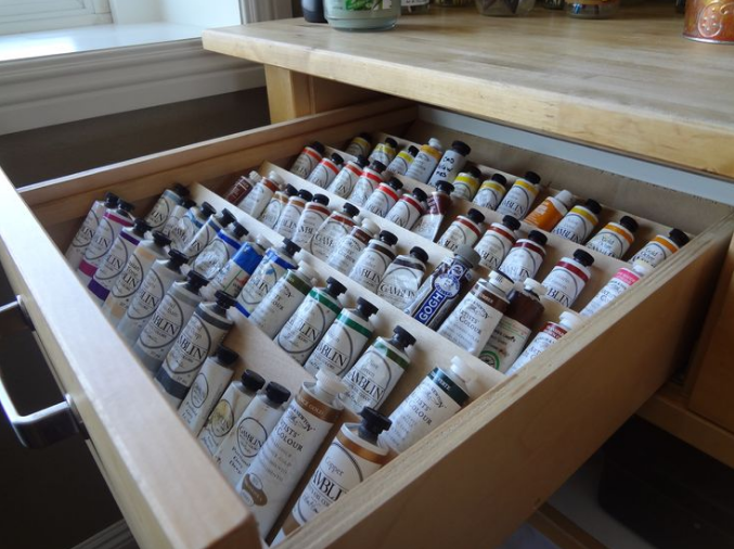 A drawer for the most used colors. Keep colors in the same places so they can be found quickly.