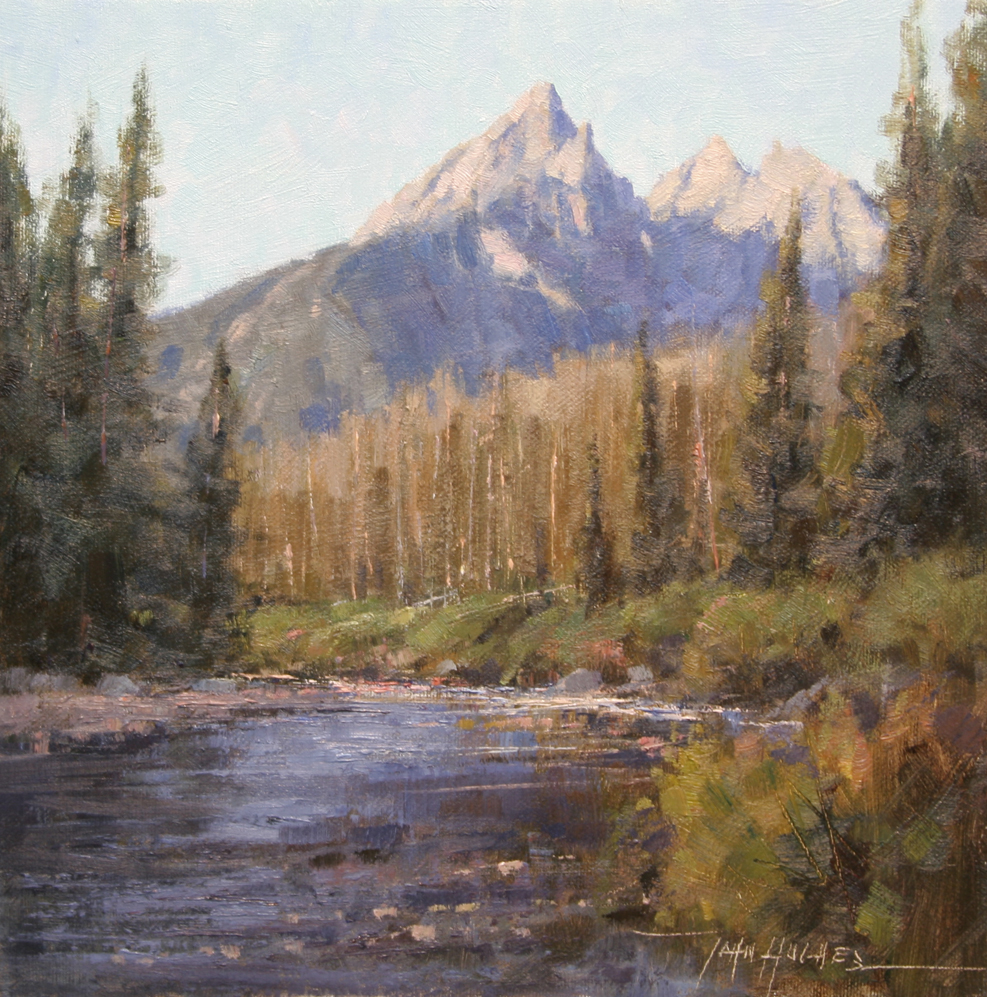 Brushwork in a landscape painting