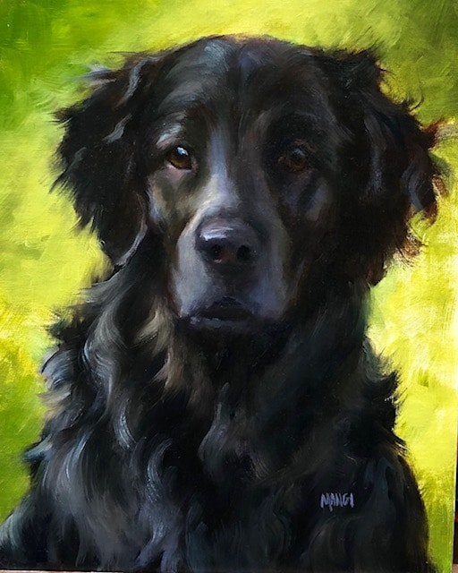 How to paint dogs - Johanne Mangi - Flat Coated Retreiver