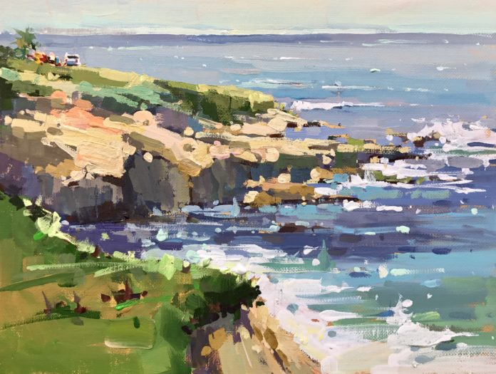 """Michele Usibelli, """"Picnic at the Point,"""" 2018, gouache, 9 x 12 in., Private collection, Plein air"""