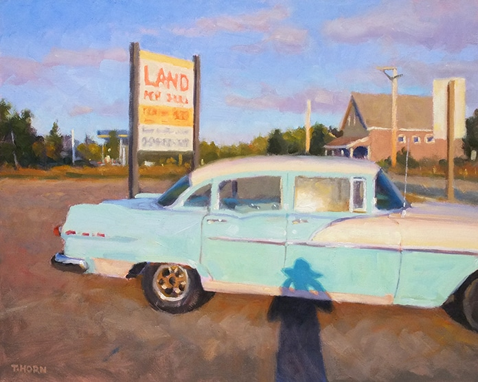 """Landscape Painting: Timothy Horn, """"Land for Sale,"""" 12 x 16 in., private collection"""