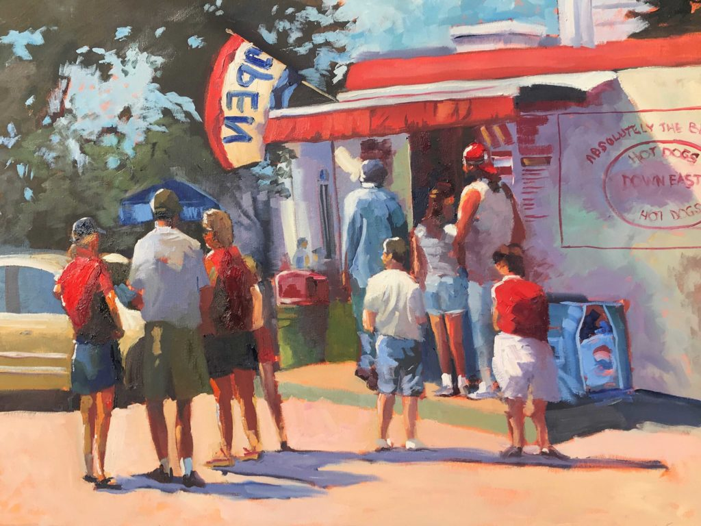 """Mike Hoyt, """"Hot Dog Stand,"""" oil on canvas 24 x 30 in."""