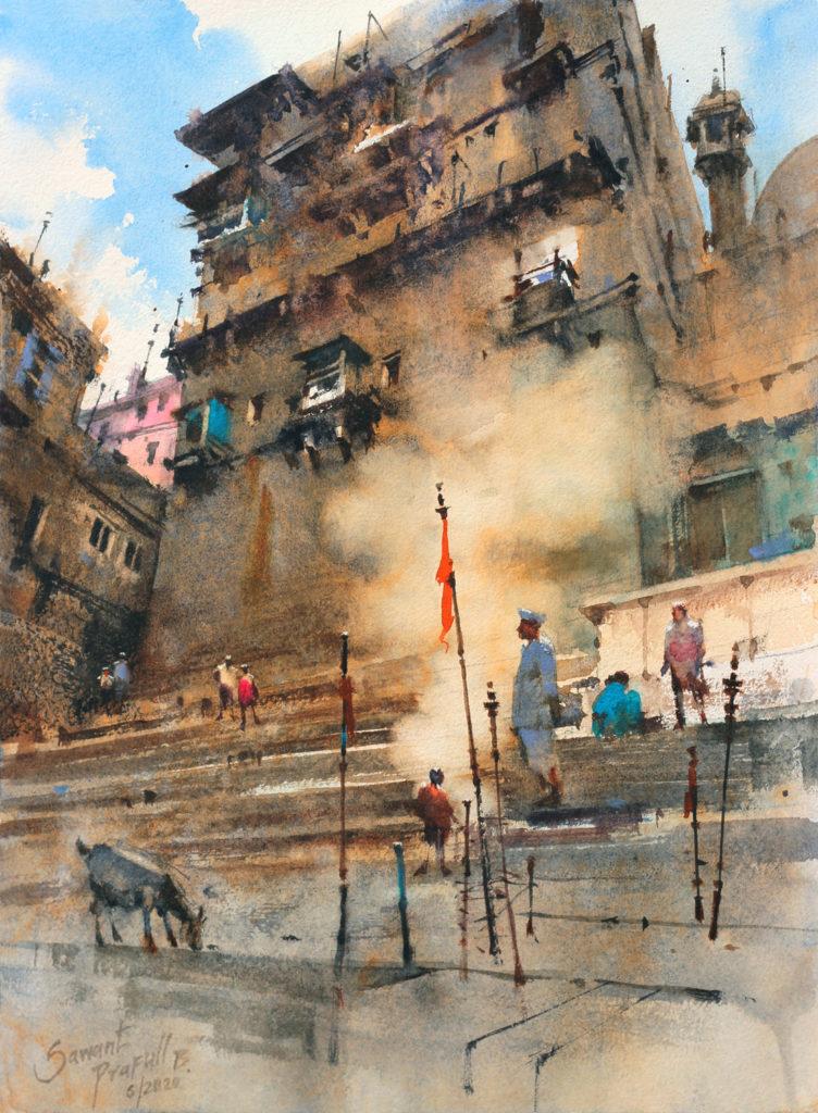 Plein air watercolor painting