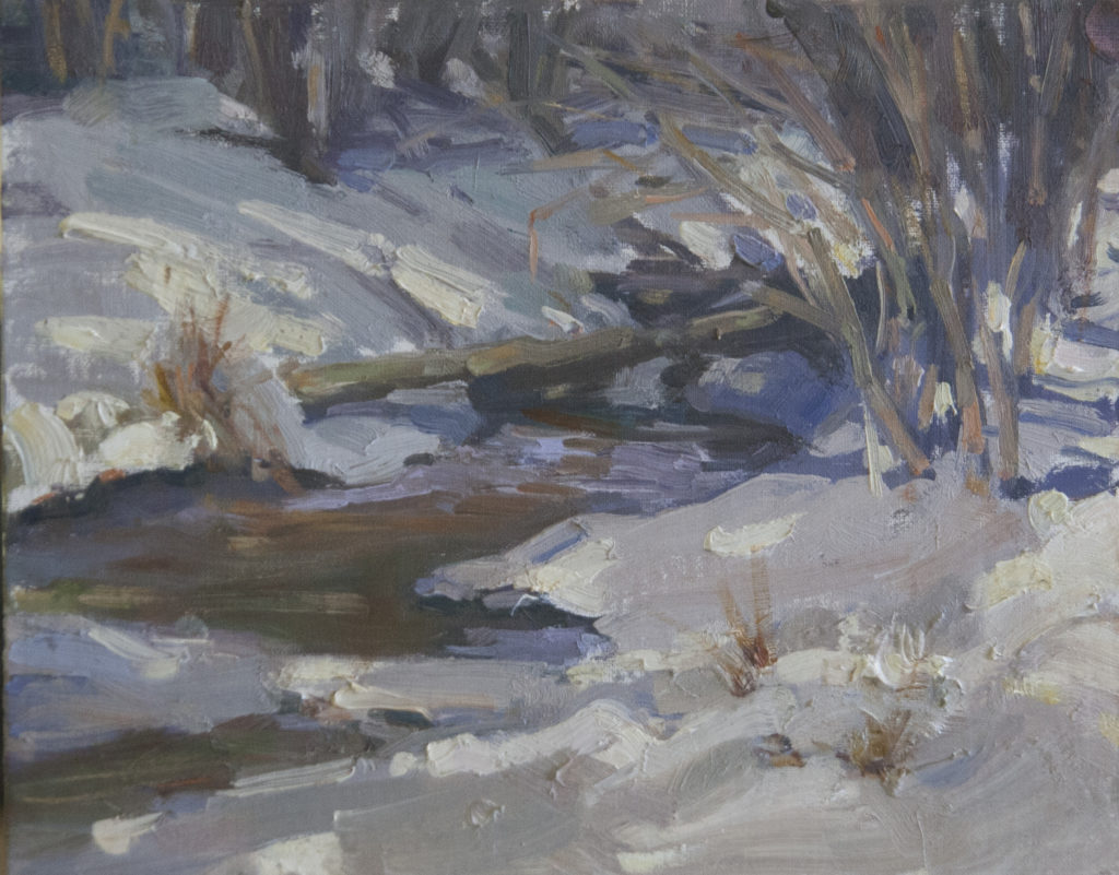 Painting of a snowy landscape