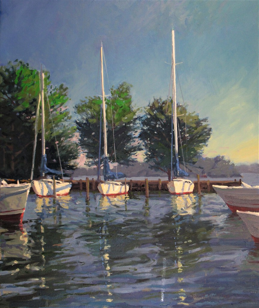 Plein air painting of boats