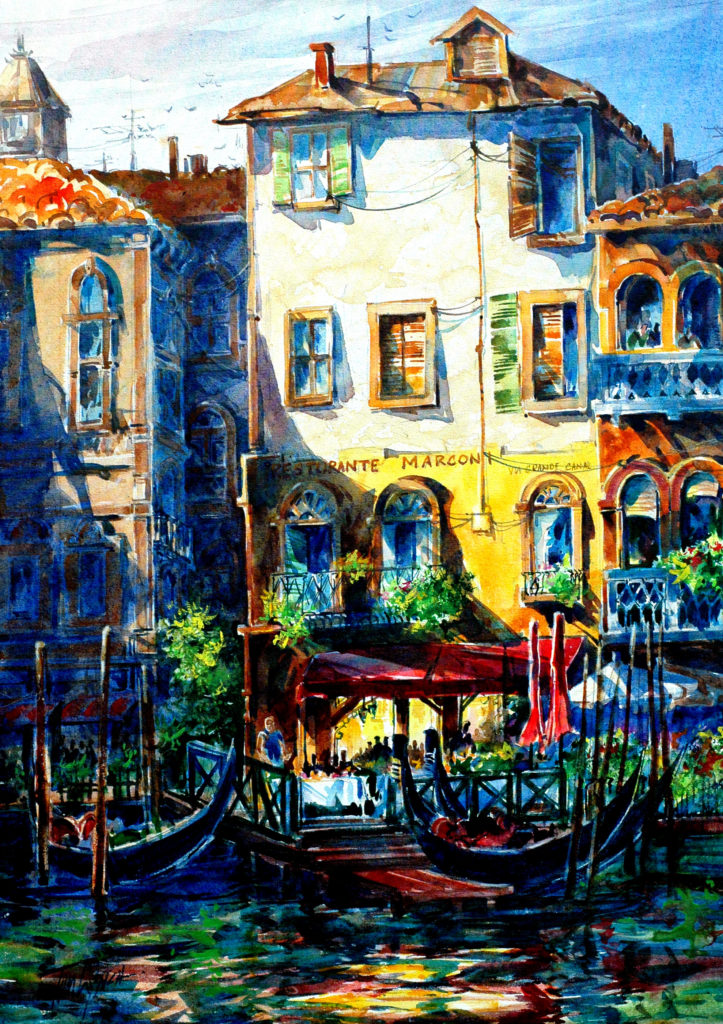 """Tom Lynch, """"Marconi Cafe,"""" watercolor on canvas, 18 x 24 in."""