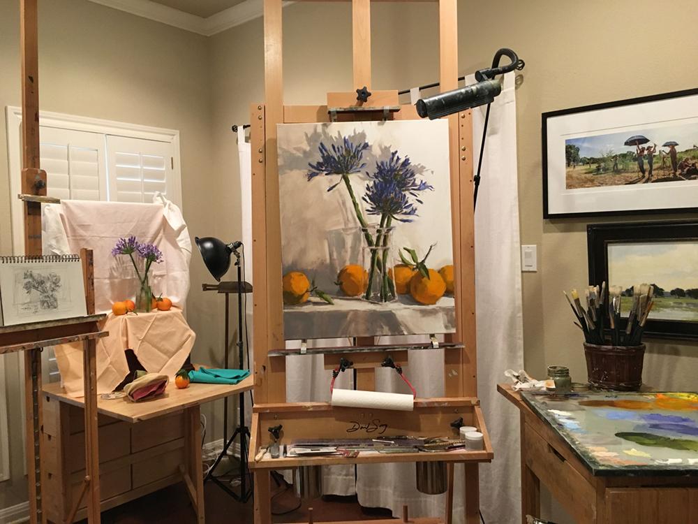 Laurel Daniel's studio, with still life arrangement and a 30 x 24 painting in progress.
