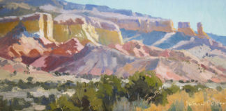 Oil painting of colored cliffs in New Mexico
