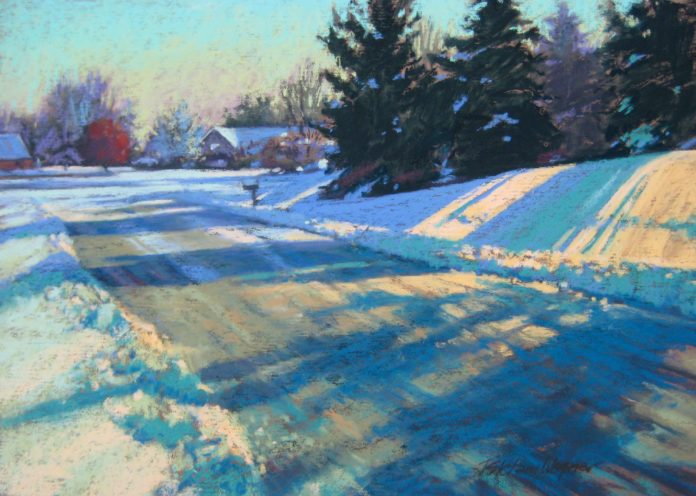Pastel painting of snowy landscape