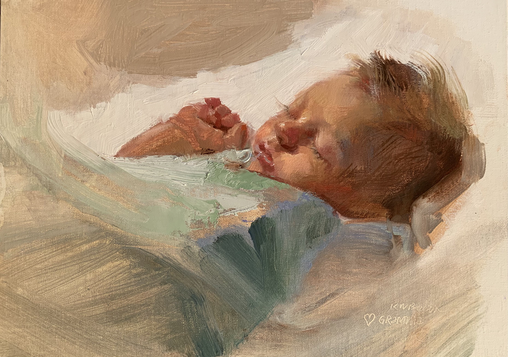 Oil painting of a baby boy in a green blanket