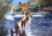 Oil painting of a pilgrimage to a church in Taos, NM