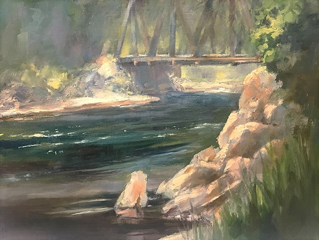 Susan's finished painting from the landscape painting demo