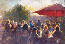 Oil painting of a seated crowd in evening light