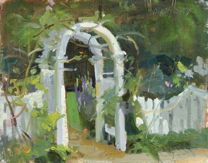 """Dawn Whitelaw, """"Margaret's Gate,"""" 2020, oil, 8 x 10 in., Private collection, Plein air sketch"""