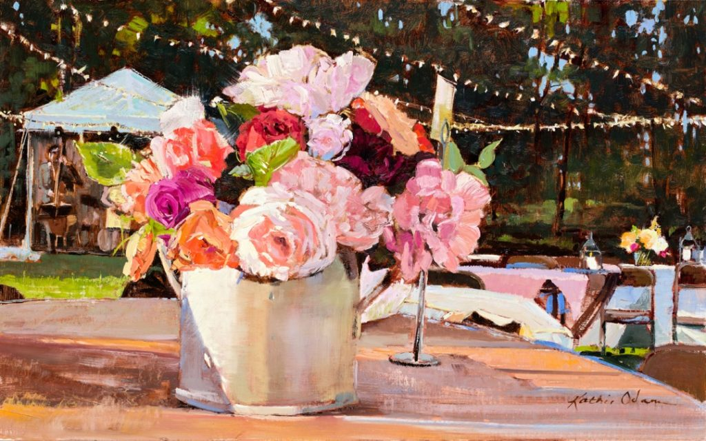 """Art competitions - """"Table 19"""" (oil, 18 x 28 in.) by Kathie Odom"""